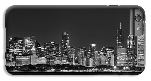 Chicago Skyline At Night Black And White Panoramic IPhone 6s Plus Case by Adam Romanowicz