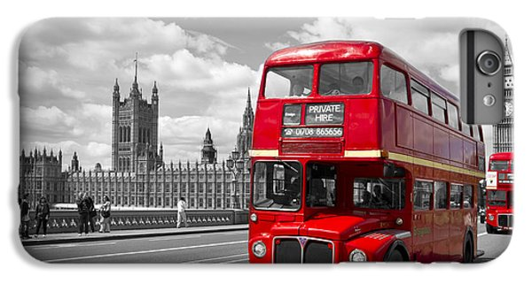 London - Houses Of Parliament And Red Buses IPhone 6s Plus Case by Melanie Viola
