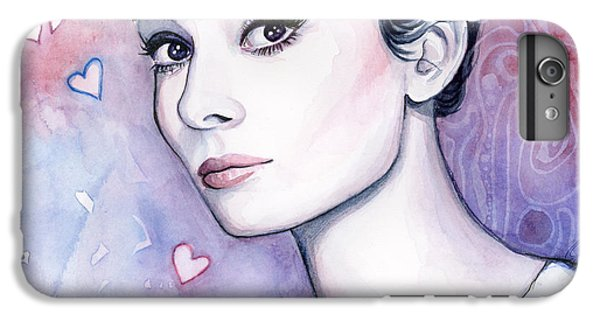 Audrey Hepburn Fashion Watercolor IPhone 6s Plus Case by Olga Shvartsur