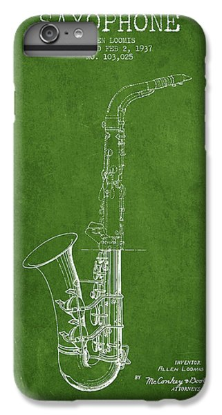 Saxophone Patent Drawing From 1937 - Green IPhone 6s Plus Case by Aged Pixel