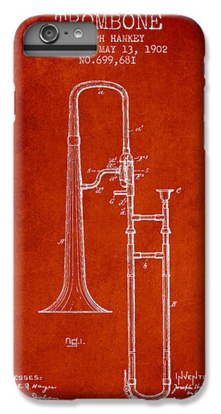 Trombone Patent From 1902 - Red IPhone 6s Plus Case by Aged Pixel