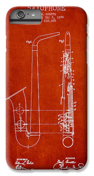 Saxophone Patent Drawing From 1899 - Red IPhone 6s Plus Case by Aged Pixel