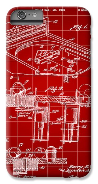 Pinball Machine Patent 1939 - Red IPhone 6s Plus Case by Stephen Younts