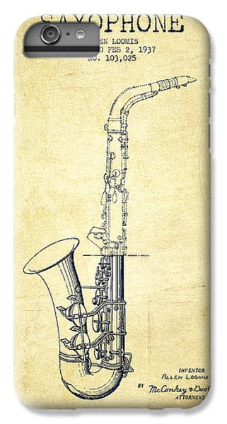 Saxophone Patent Drawing From 1937 - Vintage IPhone 6s Plus Case by Aged Pixel