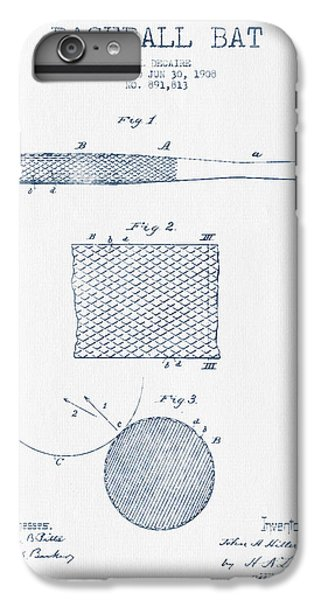 Baseball Bat Patent Drawing From 1904 - Blue Ink IPhone 6s Plus Case by Aged Pixel
