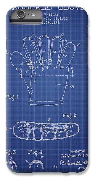 Baseball Glove Patent From 1922 - Blueprint IPhone 6s Plus Case by Aged Pixel