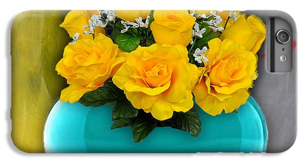 Blue Heart Vase With Yellow Roses IPhone 6s Plus Case by Marvin Blaine