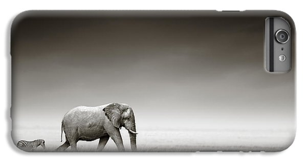 Elephant With Zebra IPhone 6s Plus Case by Johan Swanepoel