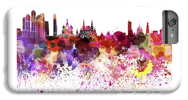 Moscow Skyline White Background IPhone 6s Plus Case by Pablo Romero