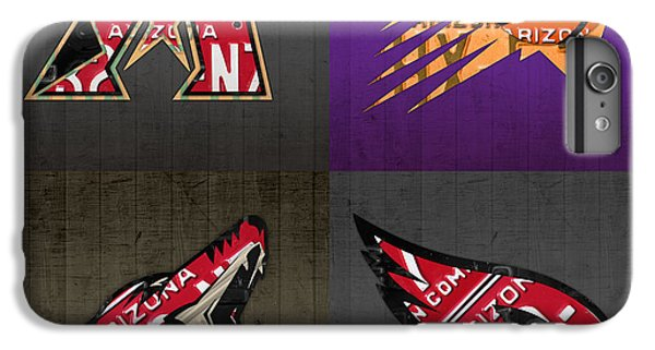 Phoenix Sports Fan Recycled Vintage Arizona License Plate Art Diamondbacks Suns Coyotes Cardinals IPhone 6s Plus Case by Design Turnpike