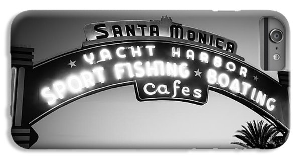 Santa Monica Pier Sign In Black And White IPhone 6s Plus Case by Paul Velgos