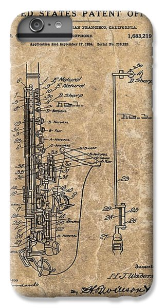 Saxophone Patent Design Illustration IPhone 6s Plus Case by Dan Sproul