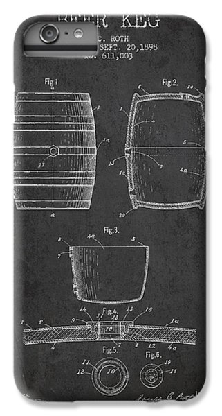 Vintage Beer Keg Patent Drawing From 1898 - Dark IPhone 6s Plus Case by Aged Pixel