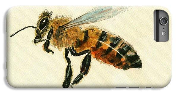 Honey Bee Watercolor Painting IPhone 6s Plus Case by Juan  Bosco