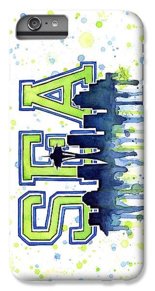 Seattle Watercolor 12th Man Art Painting Space Needle Go Seahawks IPhone 6s Plus Case by Olga Shvartsur