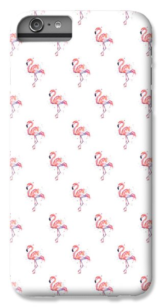 Pink Flamingo Watercolor Pattern IPhone 6s Plus Case by Olga Shvartsur