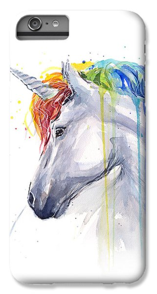 Unicorn Rainbow Watercolor IPhone 6s Plus Case by Olga Shvartsur