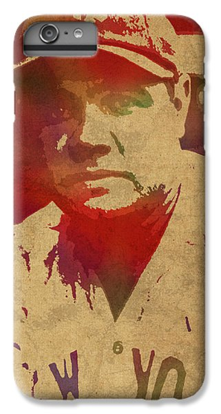Babe Ruth Baseball Player New York Yankees Vintage Watercolor Portrait On Worn Canvas IPhone 6s Plus Case by Design Turnpike