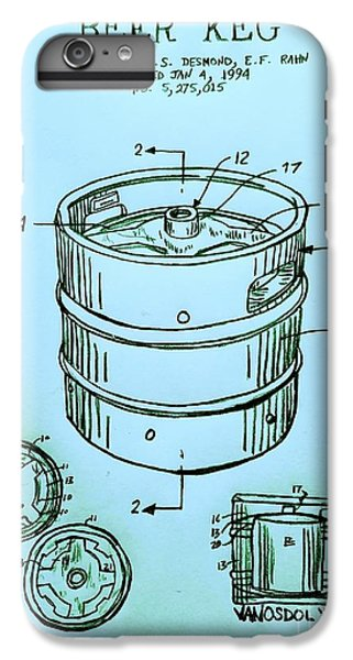 Beer Keg 1994 Patent - Blue IPhone 6s Plus Case by Scott D Van Osdol