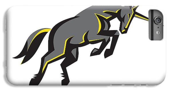 Black Unicorn Horse Charging Isolated Retro IPhone 6s Plus Case by Aloysius Patrimonio
