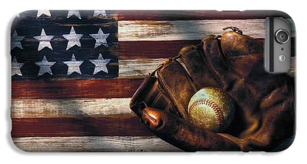 Folk Art American Flag And Baseball Mitt IPhone 6s Plus Case by Garry Gay