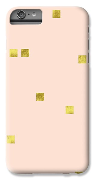 Golden Scattered Confetti Pattern, Baby Pink Background IPhone 6s Plus Case by Tina Lavoie
