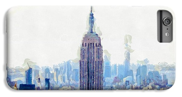 New York Skyline Art- Mixed Media Painting IPhone 6s Plus Case by Wall Art Prints