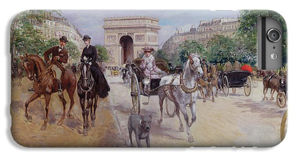 Riders And Carriages On The Avenue Du Bois IPhone 6s Plus Case by Georges Stein