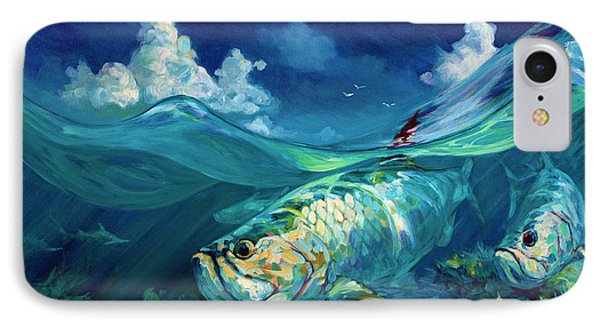 A Place I'd Rather Be - Caribbean Tarpon Fish Fly Fishing Painting IPhone Case by Savlen Art