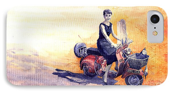 Audrey Hepburn And Vespa In Roma Holidey  IPhone Case by Yuriy  Shevchuk