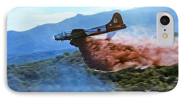 IPhone Case featuring the photograph  B-17 Air Tanker Dropping Fire Retardant by Bill Gabbert