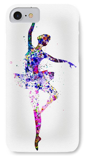 Ballerina Dancing Watercolor 2 IPhone Case by Naxart Studio