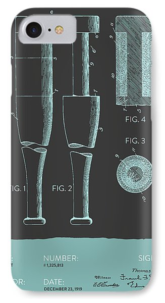 Baseball Bat Patent From 1919 - Gray Blue IPhone Case by Aged Pixel