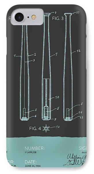 Baseball Bat Patent From 1924 - Gray Blue IPhone 7 Case by Aged Pixel