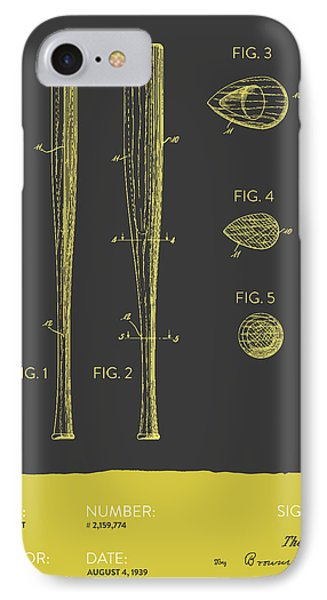 Baseball Bat Patent From 1939 - Gray Yellow IPhone Case by Aged Pixel