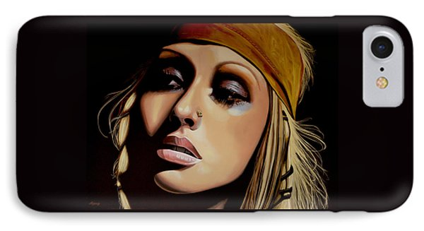 Christina Aguilera Painting IPhone Case by Paul Meijering