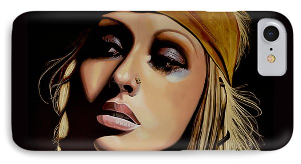 Christina Aguilera Painting IPhone 7 Case by Paul Meijering