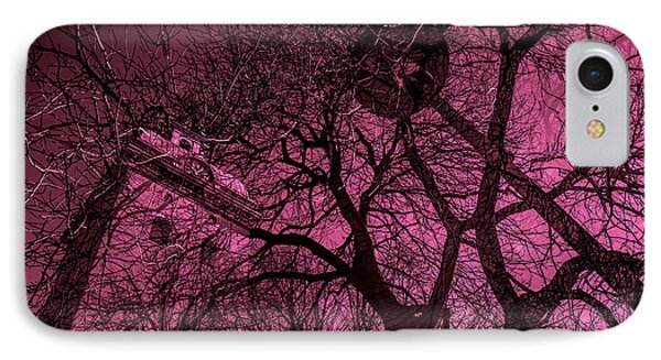 Church And Trees In Pinkish IPhone Case by Toppart Sweden