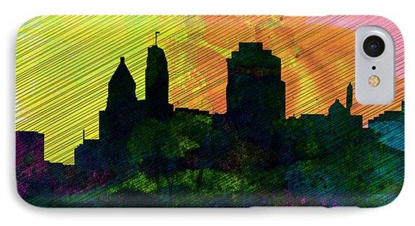 Cincinnati City Skyline IPhone Case by Naxart Studio