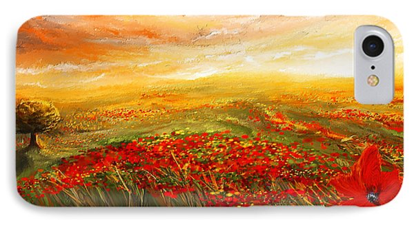 Glowing Rhapsody - Poppies Impressionist Paintings IPhone Case by Lourry Legarde