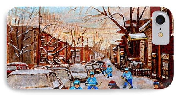 Hockey Art- Verdun Street Scene - Paintings Of Montreal Phone Case by Carole Spandau