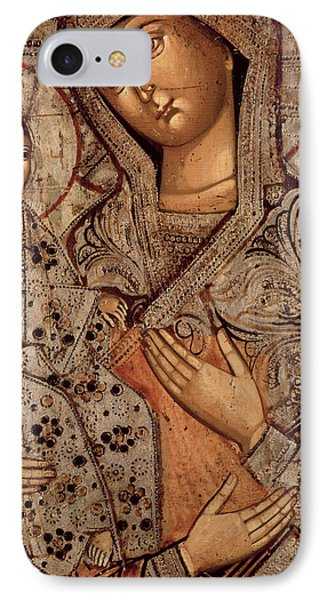 Icon Of The Blessed Virgin With Three Hands IPhone Case by Novgorod School