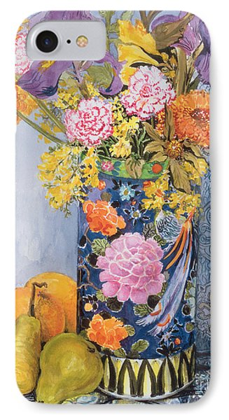 Iris And Pinks In A Japanese Vase With Pears IPhone 7 Case by Joan Thewsey