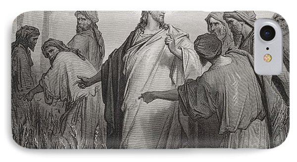 Jesus And His Disciples In The Corn Field IPhone Case by Gustave Dore