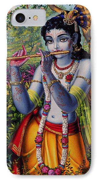 Krishna With Flute  IPhone Case by Vrindavan Das
