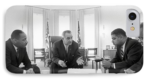 Lyndon Baines Johnson 1908-1973 36th President Of The United States In Talks With Civil Rights  IPhone Case by Anonymous