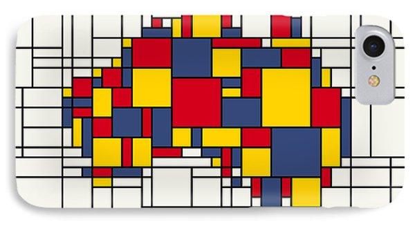 Mondrian Inspired Australia Map IPhone Case by Michael Tompsett