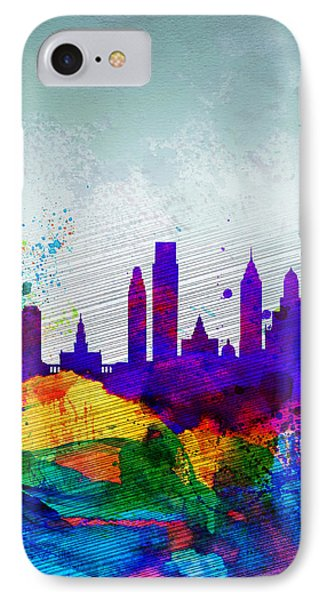 Philadelphia Watercolor Skyline IPhone Case by Naxart Studio