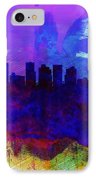 Phoenix Watercolor Skyline 1 IPhone 7 Case by Naxart Studio