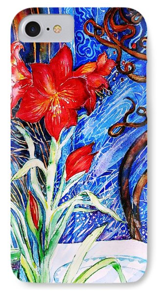 Red Amaryllis  IPhone Case by Trudi Doyle
